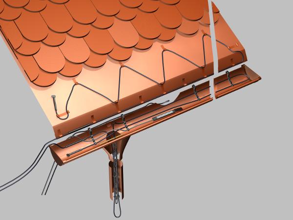 V zimních měsících hrozí, že se utrhne žlab plný ledu, přetékající a zamrzající voda může poškodit střechu či fasádu, těžký rampouch může upadnout a ublížit... Tomu všemu lze předejíž elektrickým vyhříváním střech, okapů a svodů, které rozpustí vrstvu sněhu a ledu a voda může beze škody odtékat. Okapy a svody domu se temperují na takovou teplotu, při níž se předejde zamrzání střešní krytiny v okolí okapů a hromadění ledu. Používají se převážně odporové topné kabely, případně cenově náročnějí samoregulační kabely. www.fenixgroup.cz